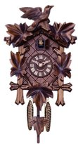 "River City Clocks 14"" Cuckoo Clock with Five Leaves and One Bird with Cross Frame"