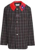 Maison Margiela Faux Leather-Trimmed Embellished Checked Cotton Jacket