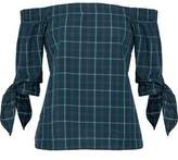 Bailey 44 Off-The-Shoulder Knotted Checked Cotton Top