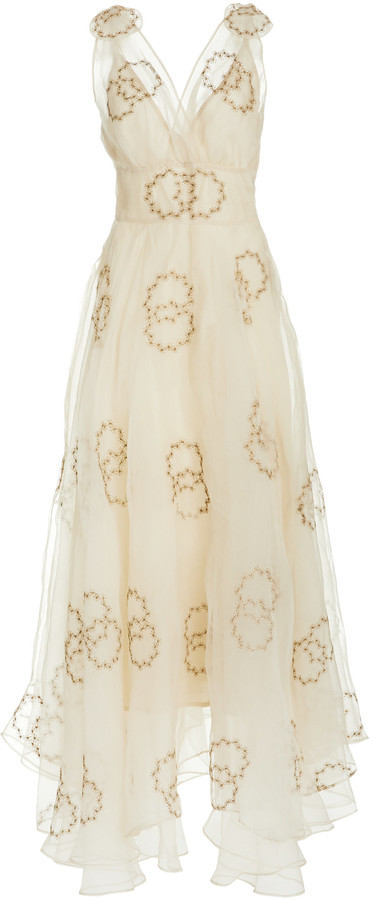 LoveShackFancy Bloom Embellished Silk Gown
