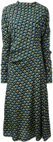 Marni Portrait print draped dress - women - Silk - 40