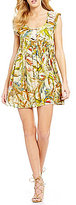 Chelsea & Violet Crew Neck Cap Sleeve Lace-Up Tropical Print Dress