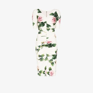 Dolce & Gabbana Rose Print Ruched Dress