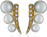 Jardin P Graduated Glass Pearl Curved Post Ear Cuffs, 1 CTTW
