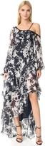Jonathan Simkhai Silk Tie Dye One Shoulder Gown