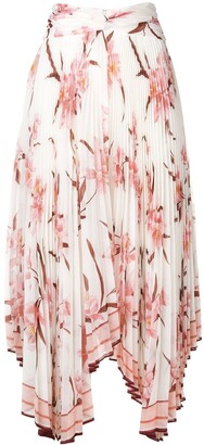 Zimmermann Orchid Print Pleated Asymmetric Skirt