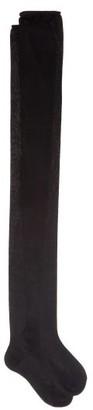 Raey Over-the-knee Roll-top Silk Socks - Black