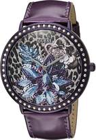 GUESS GUESS? Women's U0820L3 Trendy Watch with Dial , Crystal-Accented Bezel and Genuine Leather Strap Buckle