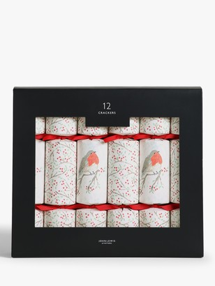 John Lewis & Partners Impressionism Robin Christmas Crackers, Pack of 12, Red