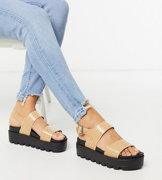 Co Wren Wide Fit chunky sole sandals in beige croc