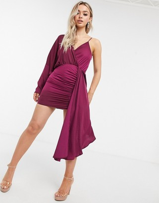 I SAW IT FIRST asymmetric satin drape mini dress in red