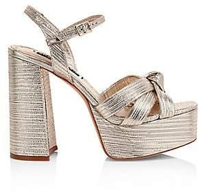 Alice + Olivia Women's Veren Metallic-Leather Platform Sandals