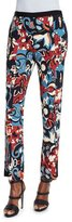 Etro Floral-Print Flared Pants, Black/Blue/Red