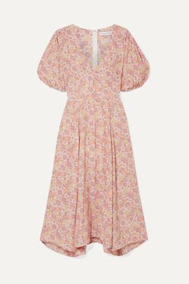Faithfull The Brand Delia Floral-print Voile Midi Dress - Pink