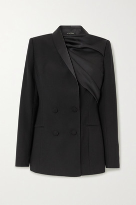 Rasario Draped Satin And Crepe Double-breasted Blazer - Black