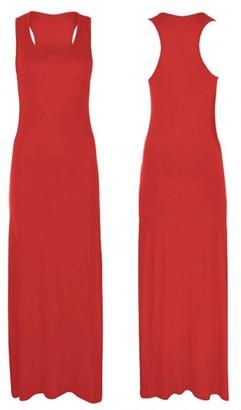 Hot Hanger Womens Long Maxi Dress Sleeveless Stretch Jersey Bodycon Racer Back 8-14 (12-14 (ML)