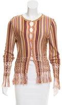 Christian Dior Striped Fringe-Trimmed Cardigan