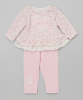 cachcach Pink Lace Top & Pink Lace-Accent Leggings - Infant & Kids