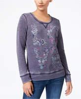 Style&Co. Style & Co Puff Paint Burnout Sweatshirt