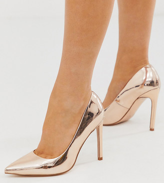 ASOS DESIGN Wide Fit Porto pointed high heeled court shoes in rose gold