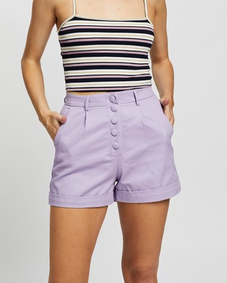 Glamorous Women's Purple High-Waisted - Five Button Shorts - Size 8 at The Iconic