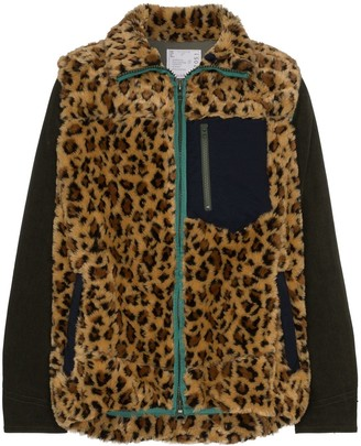Sacai Leopard Print Faux-Fur Coat