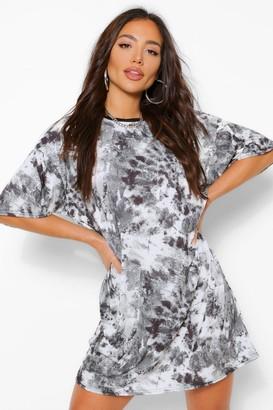 boohoo Tie Dye Oversized T Shirt Dress