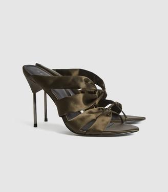 Reiss Monroe - Satin Pin-heel Mules in Khaki