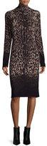 Carmen by Carmen Marc Valvo Long-Sleeve Ombre Leopard-Print Sheath Dress