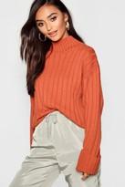 boohoo Petite Rib Knit High Neck Sweater