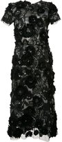 Marchesa flower embellished flared dress - women - Silk - 6