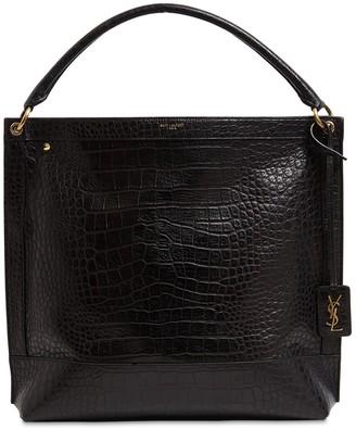 Saint Laurent Croc Embossed Leather Top Handle Bag