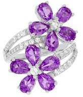 Lord & Taylor Sterling Silver, White Topaz and Amethyst Ring