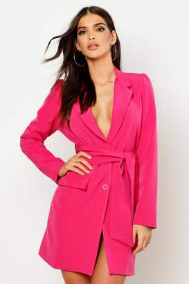 boohoo Woven Wide Tie Belt Blazer Dress