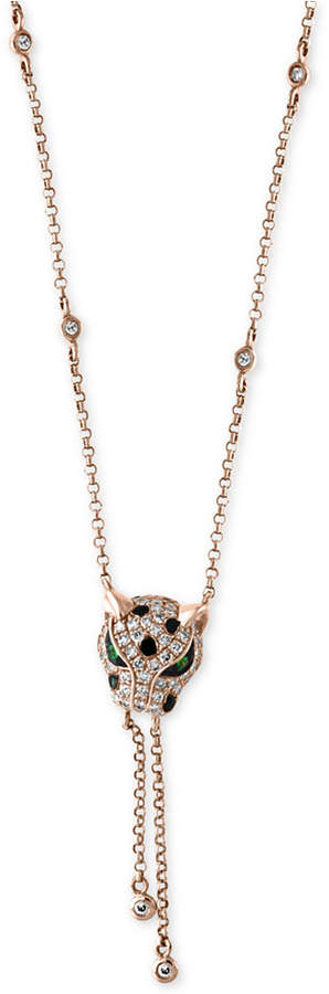 Effy Signature by Diamond (1/3 ct. t.w.) and Tsavorite Accent Panther Lariat Necklace in 14k Rose Gold