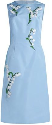 Carolina Herrera Floral Embroidered A-Line Dress