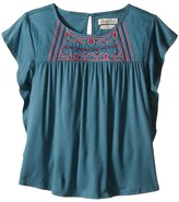 Lucky Brand Kids - Woven Knit Shirt w/ Embroidery and Ruffle Cap Sleeve Girl's Clothing