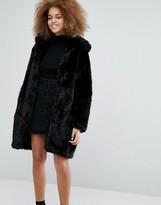 Monki Faux Fur Hooded Coat