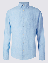 M&S Collection Easy Care Pure Linen Shirt with Pocket