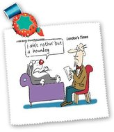 3dRose LLC qs_2279_1 Londons Times Funny Medicine Cartoons - Dog At Shrink - Quilt Squares