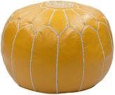 nuLOOM Moroccan Leather Pouf, Saffron