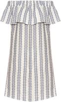 Sea Striped linen off-the-shoulder dress