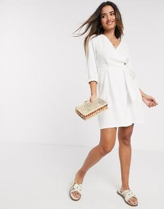 Vero Moda linen wrap mini dress in white