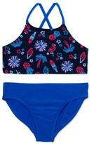 Wonder Nation Girls 4-18 Cross-Back Printed Bikini Swimsuit with UPF 50+