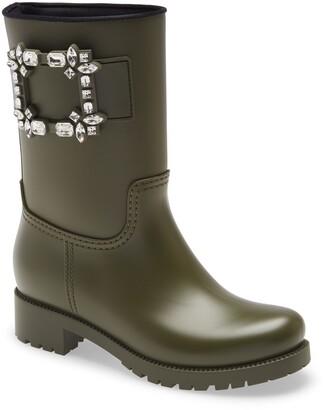 Roger Vivier Tempete Viv Crystal Buckle Waterproof Rain Boot