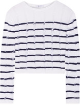 Alexander Wang Striped Open-knit Merino Wool Sweater - Ivory