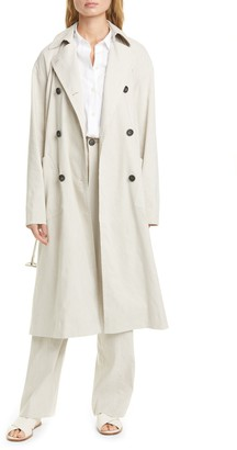 Vince Side Slit Double Breasted Trench Coat