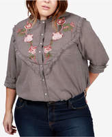 Lucky Brand Trendy Plus Size Cotton Embroidered Western Shirt