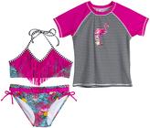 Big Chill Pink Fringe-Accent Bikini & Flamingo Rashguard - Girls