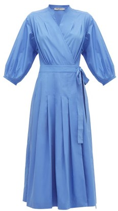 Three Graces London Delmare Cotton-poplin Wrap Dress - Blue